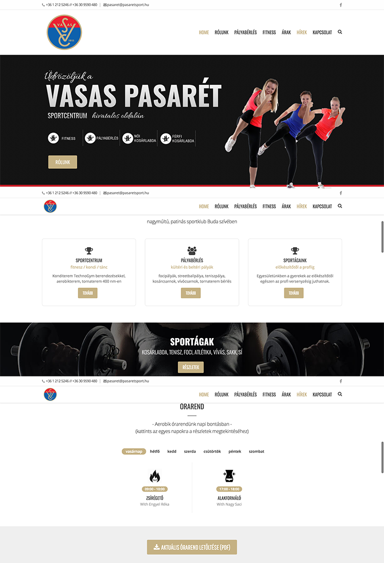 Vasas Pasarét - website